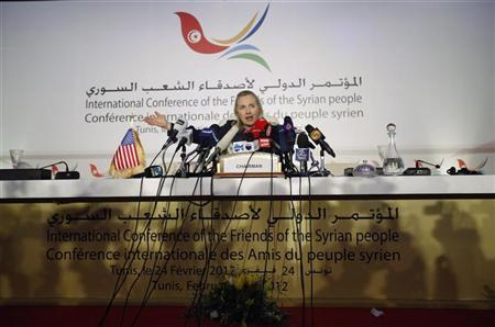 U.S. Secretary of State Hillary Clinton speaks at a news conference following the Friends of Syria Conference in Tunis, February 24, 2012. REUTERS/Jason Reed
