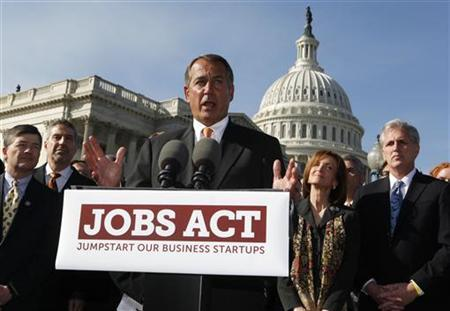 House GOP leadership led by Speaker of the House John Boehner (C) unveils JOBS Act outside Capitol Hill in Washington, February 28, 2012. REUTERS/Larry Downing