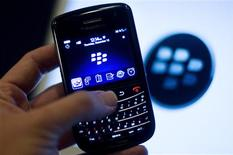 A BlackBerry handset is displayed in Washington, in this December 15, 2011, file photo. REUTERS/Jonathan Ernst/Files