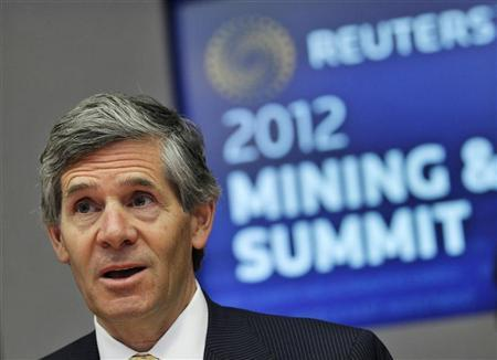 Rob McEwen, chairman, CEO and largest shareholder of McEwen Mining, speaks during the Reuters Global Mining and Metals Summit in New York March 29, 2012. REUTERS/Brendan McDermid