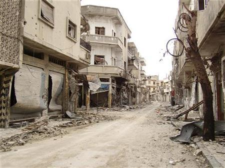 A view shows damaged buildings in the old city of Homs March 30, 2012. REUTERS/Shaam News Network/Handout