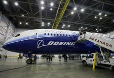 Boeing's 787 Dreamliner aircraft is seen during a media preview at an Air Canada hangar at Pearson Toronto International Airport in Toronto, March 2, 2012. REUTERS/Mark Blinch