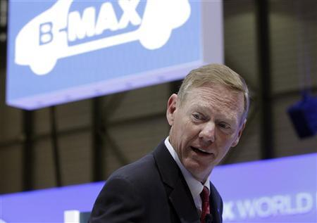 Ford Motor Company President and CEO Alan Mulally addresses journalists after unveiling the B-Max model car during the first media day of the Geneva Auto Show at the Palexpo in Geneva, March 6, 2012. REUTERS/Denis Balibouse