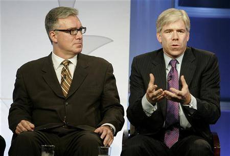 David Gregory (R), NBC News chief White House correspondent and host of ''Race for the White House'', and Keith Olbermann, host of ''Countdown with Keith Olbermann'', take part in the NBC News Decision '08 panel at the NBC Universal summer press tour in Beverly Hills, California July 21, 2008. REUTERS/Fred Prouser