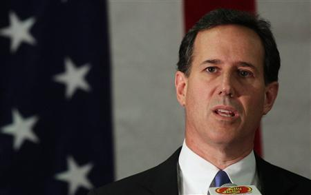 U.S. Republican Presidential candidate Rick Santorum speaks during a campaign appearance at the Jelly Belly Candy Co in Fairfield, California March 29, 2012. REUTERS/Robert Galbraith