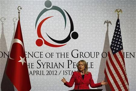U.S. Secretary of State Hillary Clinton speaks during a news conference at the 'Friends of Syria' conference in Istanbul April 1, 2012. REUTERS-Murad Sezer