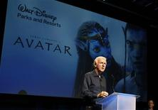 "Director James Cameron announces a long-term agreement which will bring ""Avatar"" themed lands to Disney parks, at a media briefing in Glendale, Calfornia in this September 20, 2011, file photo. Hollywood directors increasingly make their films in 3-D, the biggest financial winner is turning out to be one of their own: director James Cameron. Cameron has emerged as one of Hollywood's hottest entrepreneurs by cashing in on the 3-D technology he created for ""Avatar"", which ranks as the highest-grossing film with a worldwide box office take of $2.8 billion. Cameron also directed the second-highest grossing film of all time, the nautical disaster-romance starring Leonardo DiCaprio and Kate Winslet, ""Titanic"", which is set to return to theaters in 3-D on Wednesday. REUTERS/Fred Prouser/Files"