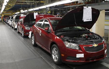 Fully assembled Chevrolet Cruze cars reach the end of the assembly line at the General Motors Cruze assembly plant in Lordstown, Ohio July 22, 2011. REUTERS/Aaron Josefczyk