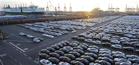 Mercedes cars are pictured at a shipping terminal in the harbour of the German northern town of Bremerhaven, March 8, 2012. REUTERS/Fabian Bimmer