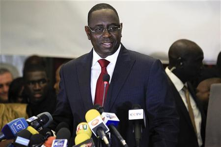 Senegalese opposition presidential candidate Macky Sall speaks at a celebratory news conference in the capital Dakar March 25, 2012. REUTERS/Joe Penney