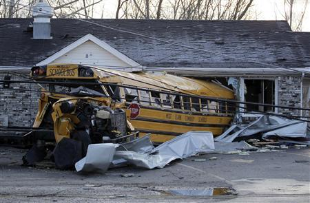 A school bus which was thrown through the front wall of the Budroe's Restaurant, is pictured after tornadoes moved through the small community of Henryville, Indiana in this March 4, 2012 file photo. REUTERS/ John Sommers II./Files
