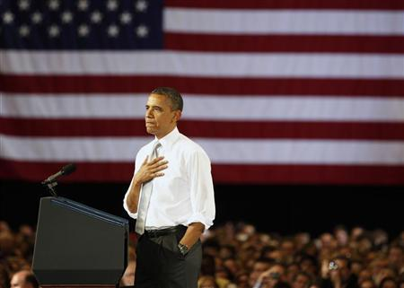 U.S. President Barack Obama pauses while he speaks at the University of Vermont in Burlington, Vermont, March 30, 2012. REUTERS/Larry Downing