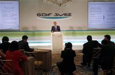 <p>Gérard Mestrallet, le P-DG de GDF Suez, lors de la présentation des résultats du groupe à Paris. GDF Suez va proposer à ses actionnaires de percevoir en actions une partie des dividendes au titre de 2011 et 2012 afin de compléter le refinancement de son projet d'offre de rachat des minoritaires du britannique International Power. /Photo prise le 10 août 2011/REUTERS/John Schults</p>