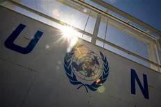 Вход на территорию комплекса ООН в Герате, 5 ноября 2009 года. Представители Департамента операций по поддержанию мира ООН прибудут в Дамаск в течение 48 часов, чтобы обсудить предполагаемый приезд наблюдателей, которые будут следить за выполнением соглашения о прекращении огня в Сирии, сообщил представитель Кофи Аннана во вторник. REUTERS/Morteza Nikoubazl