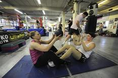 White collar boxers train at the Trad TKO Boxing Gym in London March 28, 2012. REUTERS/Ki Price