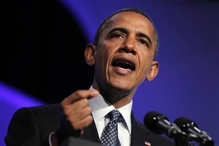 U.S. President Barack Obama delivers remarks at the American Society of News Editors (ASNE) Convention in Washington, April 3, 2012. REUTERS/Jason Reed