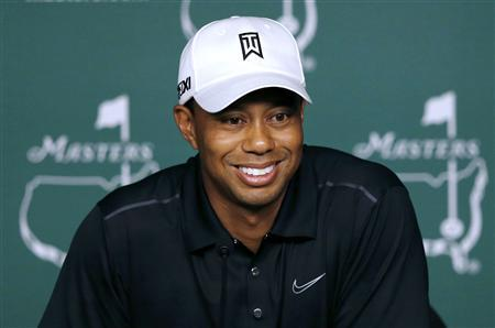 Tiger Woods of the U.S. answers questions during a press conference following his practice round for the 2012 Masters Golf Tournament at the Augusta National Golf Club in Augusta, Georgia, April 3, 2012. REUTERS/Phil Noble