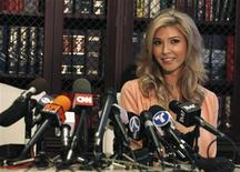 "Canadian model Jenna Talackova attends a news conference in Los Angeles, California April 3, 2012. Talackova, a transgender beauty queen who was dropped from the Miss Universe Canada competition by pageant representatives, has been given the green light to go by the Donald Trump-led Miss Universe Organization. The 23-year-old will, however, need to prove that she meets the ""legal gender recognition requirements of Canada"", according to local media. REUTERS/Mario Anzuoni"