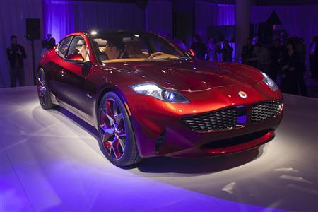 The Fisker automotive electric Atlantic sedan is seen during its unveiling ahead of the 2012 International Auto Show in New York April 3, 2012. REUTERS/Allison Joyce