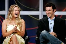 "Actress Maggie Lawson (L) and actor Fred Savage (R), stars of the ABC television comedy series ""Crumbs"", answer questions from television critics during the ABC Summer press tour hosted by the Television Critics Association in Beverly Hills July 26, 2005. REUTERS/Fred Prouser"