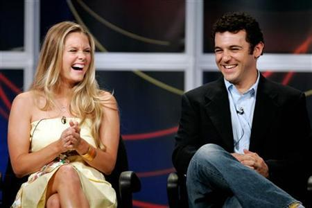 Actress Maggie Lawson (L) and actor Fred Savage (R), stars of the ABC television comedy series ''Crumbs'', answer questions from television critics during the ABC Summer press tour hosted by the Television Critics Association in Beverly Hills July 26, 2005. REUTERS/Fred Prouser