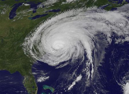 This NASA satellite image, obtained by Reuters on August 28, 2011, shows Hurricane Irene on August 27, 2011 at 10:10 a.m. EDT over the U.S. east coast in the Atlantic Ocean. REUTERS/NASA-NOAA/Handout