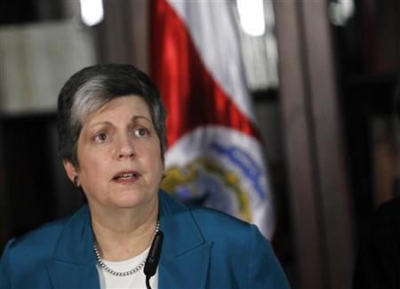 Homeland Security Secretary Janet Napolitano speaks during a news conference at the presidential house in San Jose February 28, 2012. REUTERS/Juan Carlos Ulate