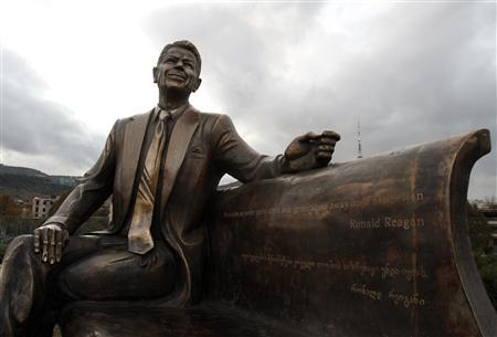 A statue of Ronald Reagan, the 40th U.S. president, is seen in Tbilisi November 23, 2011. REUTERS/David Mdzinarishvili