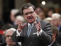 Canada's Finance Minister Jim Flaherty speaks during Question Period in the House of Commons on Parliament Hill in Ottawa April 2, 2012. REUTERS/Chris Wattie