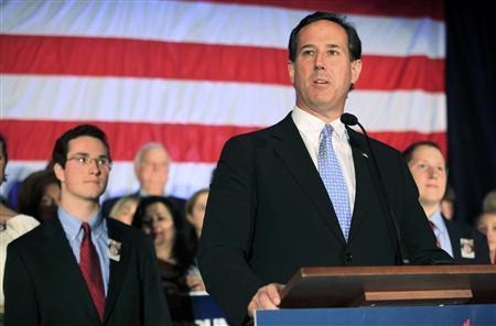 U.S. Republican presidential candidate Rick Santorum addresses supporters at his Wisconsin and Maryland primary night rally in Mars, Pennsylvani, April 3, 2012. REUTERS/Jason Cohn