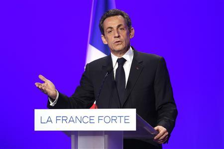 France's President and UMP party candidate for the 2012 French presidential elections Nicolas Sarkozy speaks during a news conference to present his electoral program in Paris, April 5, 2012. REUTERS/Benoit Tessier