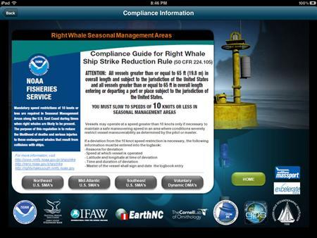 A screen capture from the WhaleALERT app shows the seasonal management areas Compliance Guide for Right Whale Ship Strike Reduction Rule. REUTERS/IFAW/International Fund for Animal Welfare/Handout