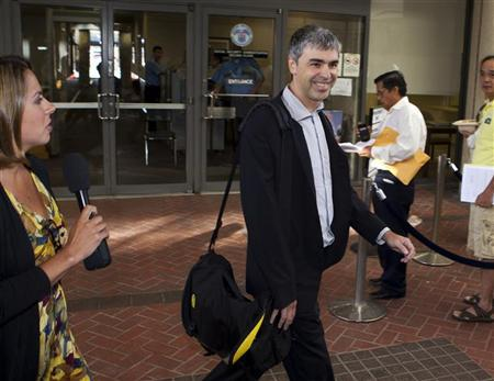 Google Inc. CEO Larry Page arrives at the Robert F. Peckham Federal Courthouse in San Jose, California September 19, 2011. REUTERS/Norbert von der Groeben