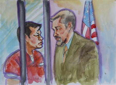 One Goh (L), accused of opening fire on former classmates and staff at Oikos University on April 2, 2012, appears in Alameda County Court for his arraignment in this April 4, 2012 courtroom sketch. REUTERS/Vicki Behringer (UNITED STATES - Tags: CRIME LAW)