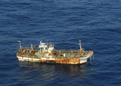 The unmanned Japanese fishing vessel, Ryou-un Maru, drifts northwest approximately 164 miles southwest of Baranof Island, in the Gulf of Alaska, in this U.S. Coast Guard handout photo from April 4, 2012. REUTERS/U.S. Coast Guard/Petty Officer 1st Class Sara Francis/Handout