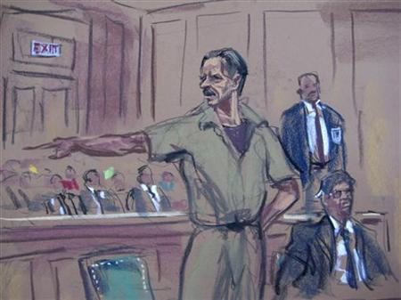 In this courtroom illustration Viktor Bout, a Russian arms dealer caught in an undercover sting operation by U.S. agents posing as Colombian guerrillas seeking weapons, speaks during his sentencing in New York April 5, 2012. Bout, arrested in Bangkok in 2008, was sentenced to 25 years in prison. REUTERS/Jan Rosenberg/Handout