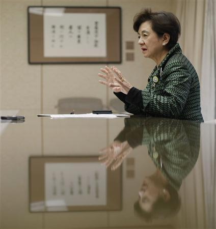 Shiga Prefecture Governor Yukiko Kada speaks during an interview with Reuters at the Shiga Prefectural Governor's Reception House in Otsu, western Japan April 6, 2012. REUTERS/Toru Hanai