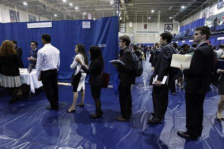 Employment seeking American University students line up waiting to talk to job recruiters during a career job fair at American University in Washington March 28, 2012. REUTERS/Jose Luis Magana