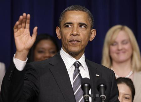 U.S. President Barack Obama waves after delivering remarks at the White House Forum on Women and the Economy in the Eisenhower Executive Office Building in Washington April 6, 2012. REUTERS/Yuri Gripas
