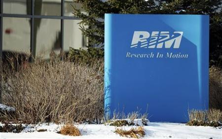A sign of Research in Motion (RIM) is seen at its headquarters in Waterloo, Ontario, January 22, 2012. REUTERS/Geoff Robins/Files