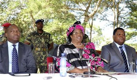 Malawian Vice-President Joyce Banda addresses a media conference in the capital Lilongwe April 7, 2012. REUTERS/Mabvuto Banda