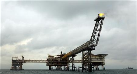 The SPQ1 gas platform is seen on the southern edge of Iran's South Pars gas field in the Gulf, off Assalouyeh, 1,000 km (621 miles) south of Tehran, January 26, 2011. Picture taken January 26. REUTERS/Caren Firouz