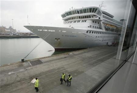 The cruise ship Balmoral is prepared prior to boarding of passengers going on the Titanic Memorial Cruise in Southampton, England April 8, 2012. REUTERS/Chris Helgren