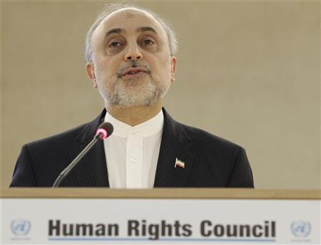 Iran's Foreign Minister Ali Akbar Salehi addresses the 19th session of the Human Rights Council at the United Nations in Geneva February 27, 2012. REUTERS/Denis Balibouse