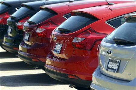 A row of Ford Focus are seen at Koons Ford in Silver Spring, Maryland April 3, 2012. REUTERS/Gary Cameron