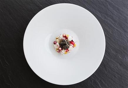A starter of caviar, radish and curd cheese, created by Belgian chef Gert De Mangeleer, is seen at Hertog Jan, the country's latest three-star Michelin restaurant, in Bruges March 29, 2012. REUTERS-Francois Lenoir