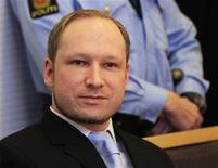 Norwegian Anders Behring Breivik, who killed 77 people, arrives at a court hearing in Oslo February 6, 2012. REUTERS/Lise Aserud/Scanpix Norway
