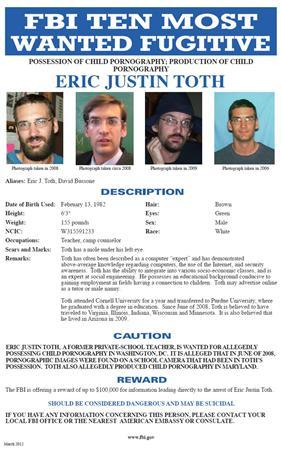 The Federal Bureau of Investigation (FBI) image of its ''Ten Most Wanted Fugitives'' poster shows Eric Justin Toth, aka David Bussone, in this handout image released on April 10, 2012. REUTERS/FBI/Handout