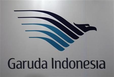 A company logo of Garuda Indonesia airline is displayed during a news conference in Hong Kong September 16, 2011. REUTERS/Bobby Yip