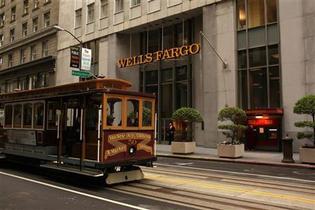 A cable car passes the Wells Fargo Bank headquarters in the Financial District in San Francisco, California March 28, 2012. REUTERS/Robert Galbraith